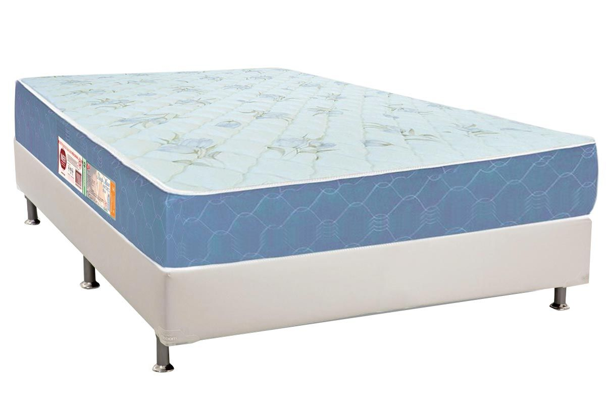 Conjunto Box: Colchão Castor Espuma D45 Sleep Max + Cama Box Courino White