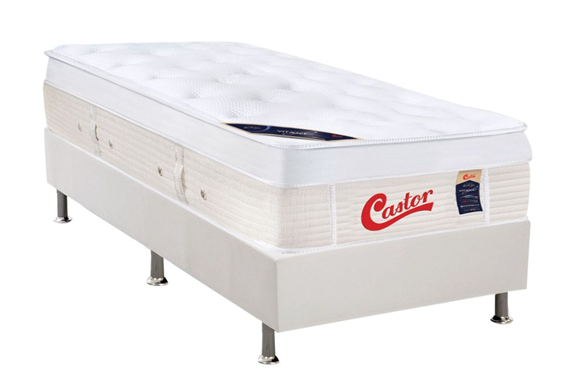 Colchão Castor Molas Pocket Gold Star Vitagel Max+ Cama Box Universal Courino White