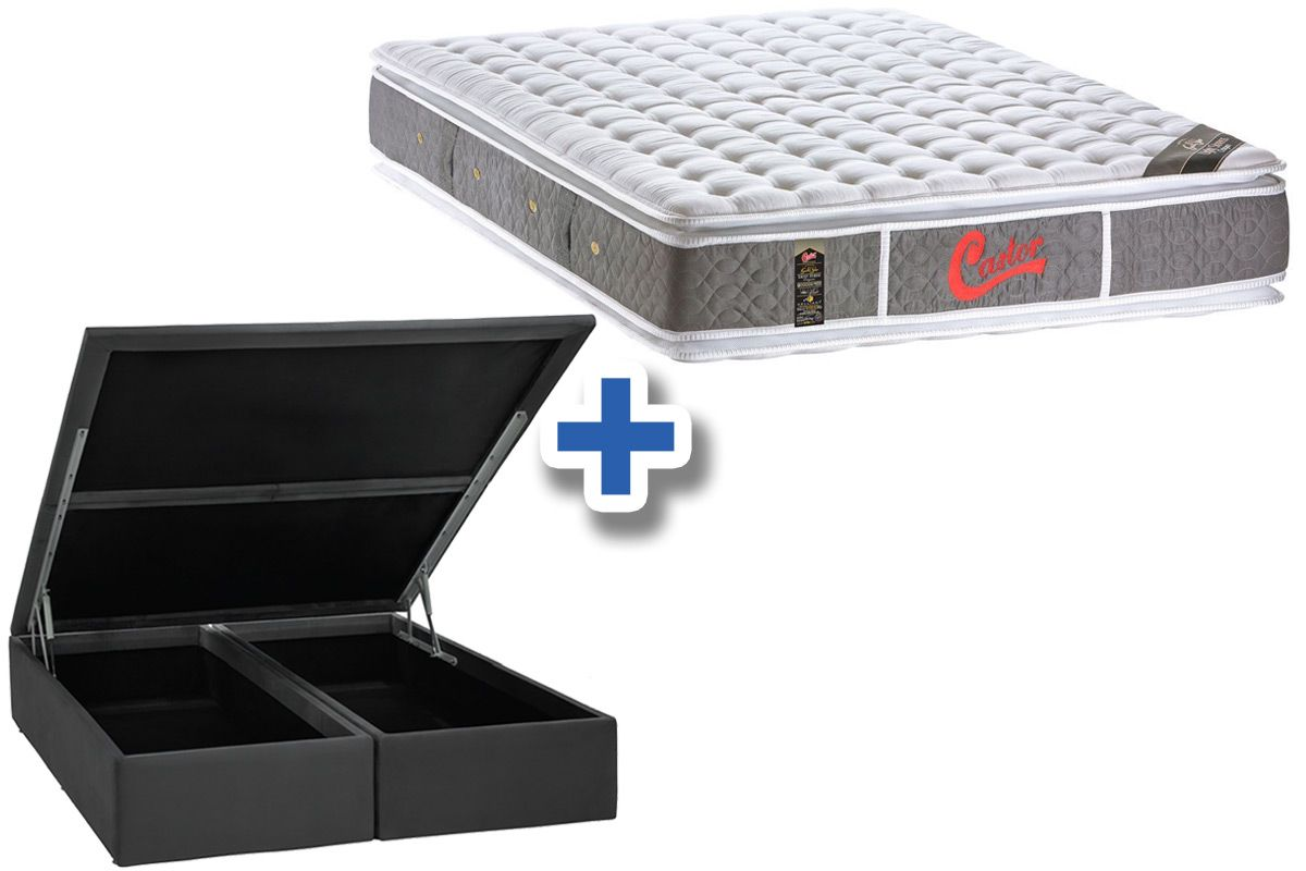 Conjunto Box Baú - Colchão Castor Molas Pocket Light Stress Oxygen New Double Face Visco + Cama Box Baú Nobuck Cinza