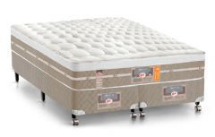 Conjunto Cama Box - Colchão Castor de Molas Pocket Silver Star Air One Face + Cama Box Universal Nobuck Bege Crema